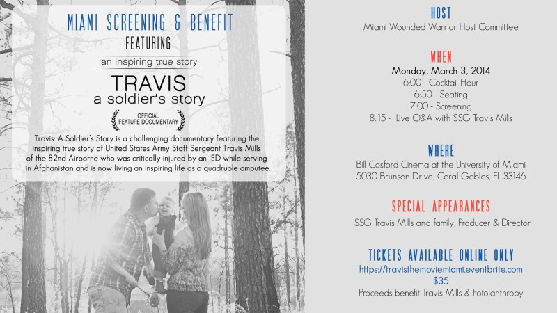 Travis: A Soldier's Story To Sail to Miami, Florida!