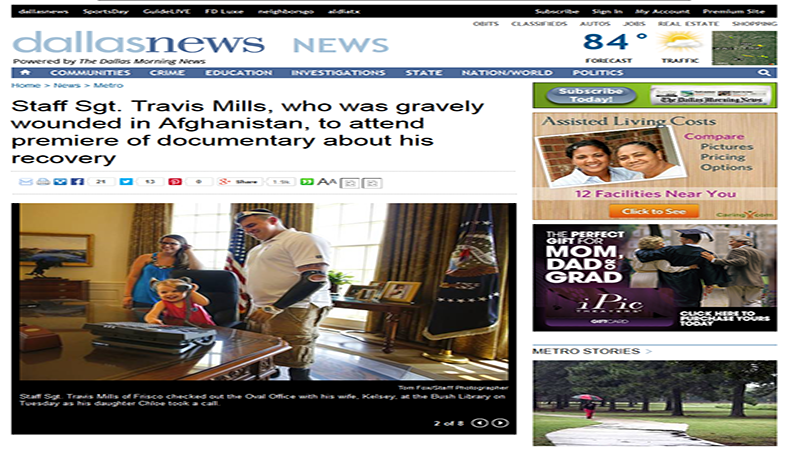 Staff Sgt. Travis Mills, who was gravely wounded in Afghanistan, to attend premiere of documentary about his recovery