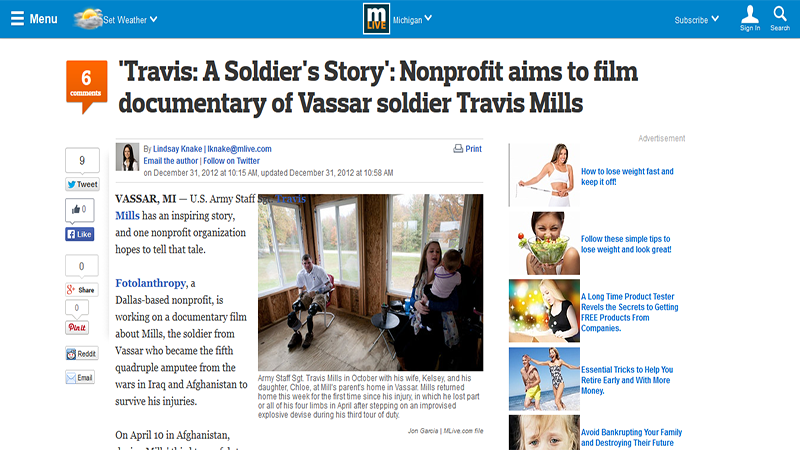 Travis: A Soldier's Story': Nonprofit aims to film documentary of Vassar soldier Travis Mills