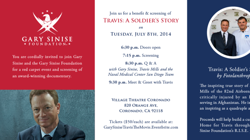 Gary Sinise Foundation to Host a Screening on July 8 in San Diego!