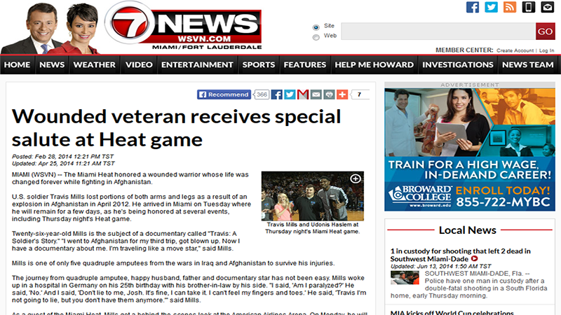 Wounded veteran receives special salute at Heat game