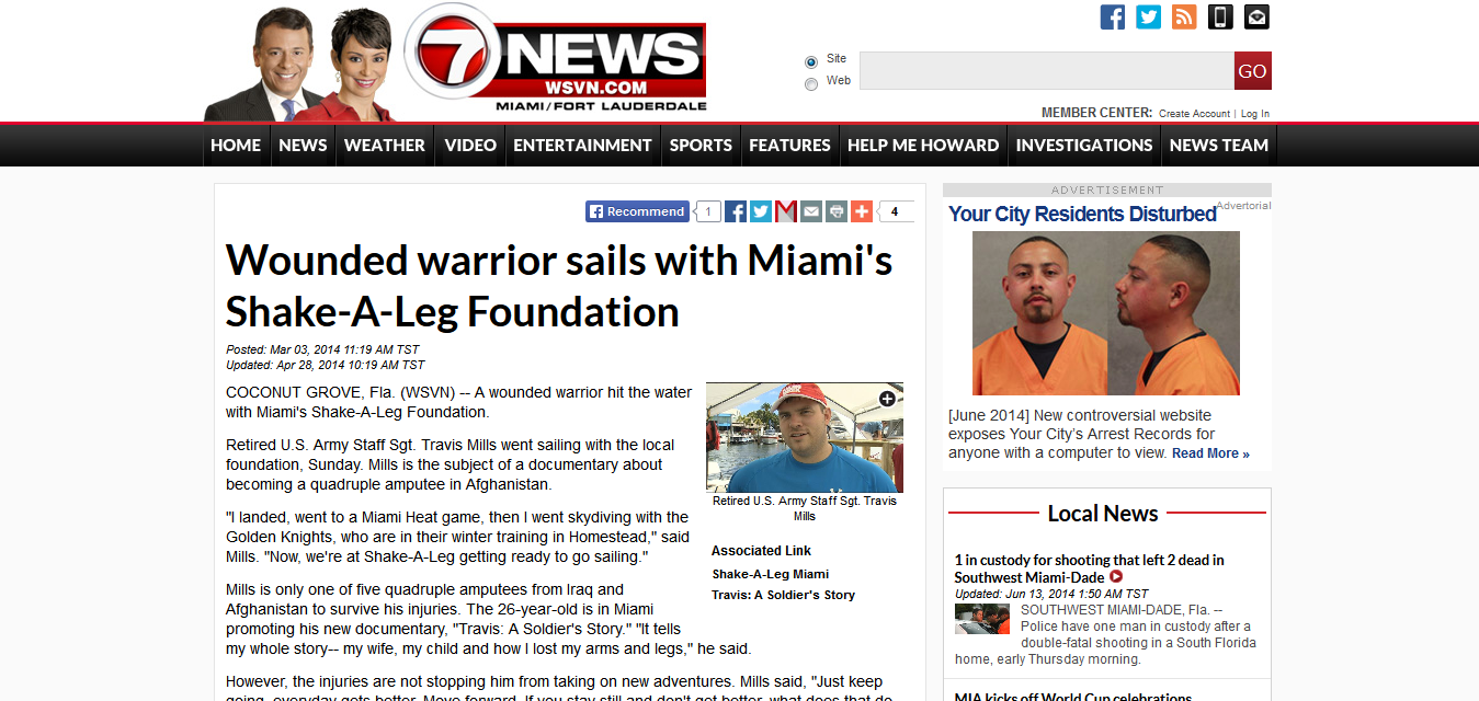Wounded warrior sails with Miami's Shake-A-Leg Foundation