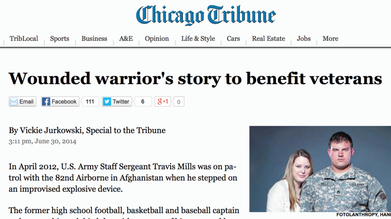 Chicago Tribune: Wounded warrior's story to benefit veterans