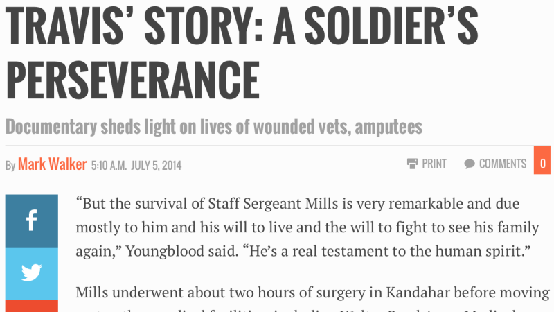 TRAVIS' STORY: A SOLDIER'S PERSEVERANCE