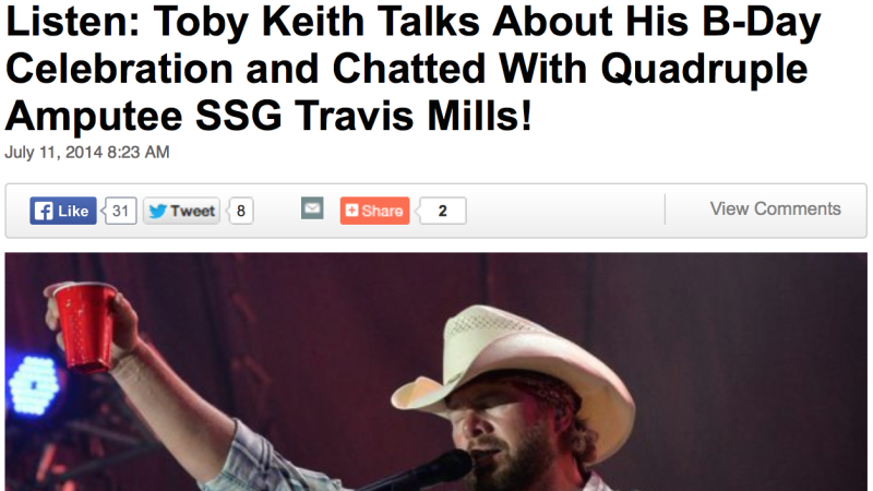 Toby Keith Talks About His B-Day and Chatted With Quadruple Amputee SSG Travis Mills!